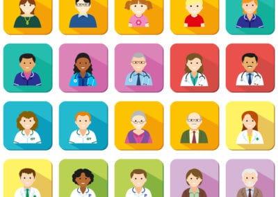 illustrations avatars of medical professionals